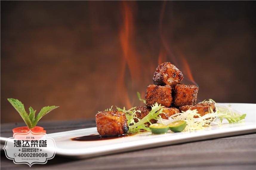 火焰黑椒银鳕鱼中餐菜品摄影