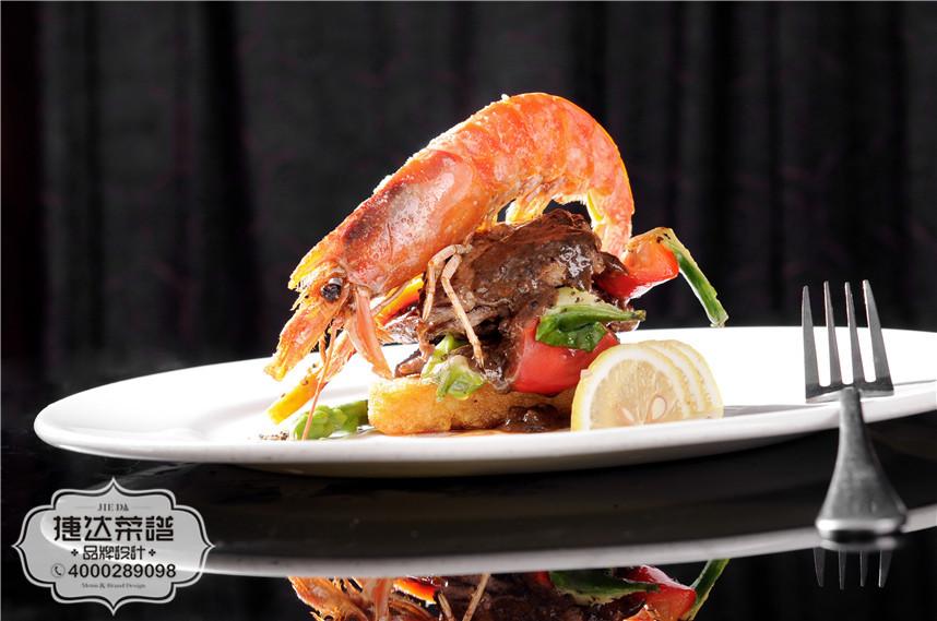 薄切牛肉配大虾 西餐菜品摄影